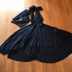 Blue Silk Halter Gown Size M/L